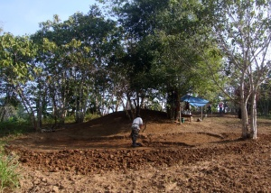 Khun Suwan finishes off clearing the topsoil from the eventual Natural Swimming Pool.