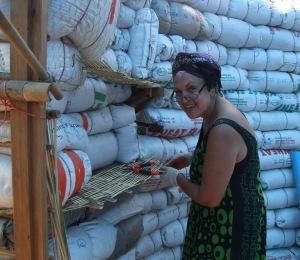 Su Lupasco Washington weaving bamboo shelves.