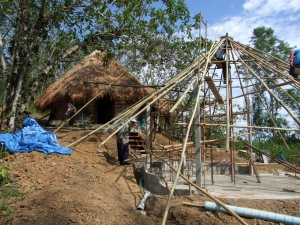 Building the frame for the thatch.