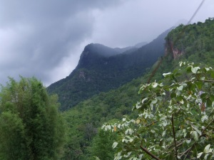 Rain clouds gather over Chiang Dao Mountain: view from my hammock.