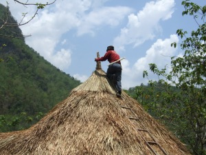 The final piece of roof – a top-knot.