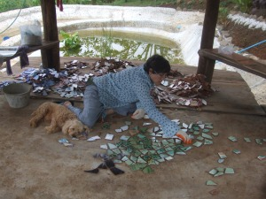 Caroline and Muumuu working on the mosaic floor of the Sala (pavilion).  Well, Muumuu is having a bit of a rest…