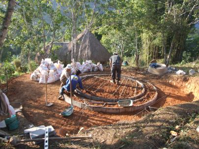 Preparing the foundations for the Earthbag Dome.