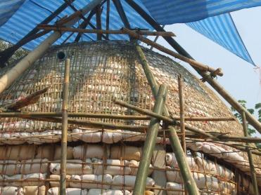 Woven bamboo cap.