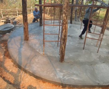 Final layer of cement is laid on the foundation the day before the participants arrive!