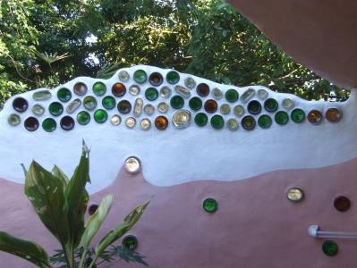 Bottle design on an outside wall.